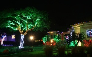 christmas lights, red, lights, beautiful, landscape, house, green, christma ...