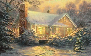 картина, christmas cottage, зима, christmas decoration, живопись, Thomas ki ...
