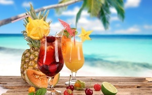 Summer, melon, fruits, cocktail, cherry, strawberry, glasses, food, coconut ...