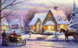 christmas, horse, painting, winter, cottage, Thomas kinkade, snow, art, mem ...