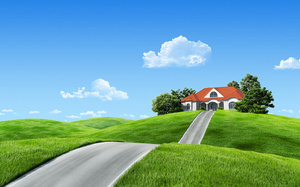 fantasy, road, природа, nature, фэнтези, house, Landscape, clouds, пейзаж