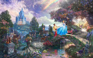 walt disney, art, Cinderella wishes upon a dream, animated, thomas kinkade, ...