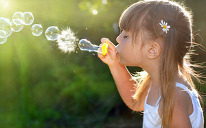Bubbles, children, little girl, childhood, joy, child, девочка, пузырей, ha ...