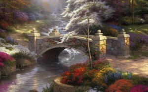 bridge, painting, мост, thomas kinkade, nature, мостик, Bridge of hope