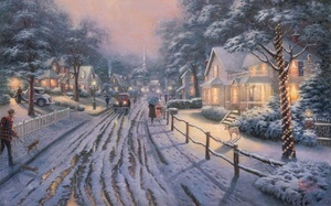 snow, Hometown christmas memories, picture, art, winter, painting, nice, ch ...