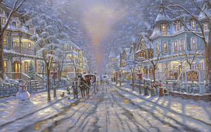 painting, winter, snow, christmas decoration, christmas, Cape may christmas ...
