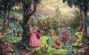 painting, walt disney, Sleeping beauty, animated film, art, thomas kinkade