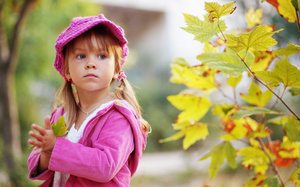 sadness, sad, autumn, childhood, child, , leaves, Little girl , nature, lon ...