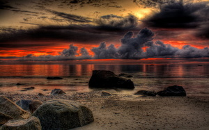 scenery, sunset, sky, Nature, ocean, beach, stones, sea, beautiful, cool, r ...