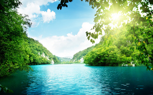 beautiful nature, deep forest, sunlight, sky, landscape, sea, Lake , озеро, ...