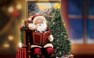 thomas kinkade, santa, christmas tree, decoration, christmas, Santa claus,  ...