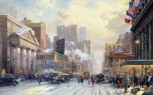 new york, winter, art, city, 1932, snow on seventh avenue, Thomas kinkade,  ...