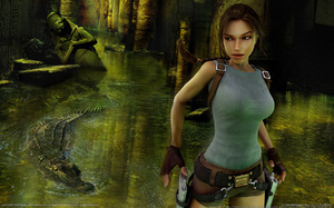 guns, fire, crocodile, Lara croft tomb raider anniversary, ruins, girl, gam ...