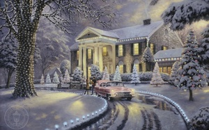 christmas tree, snow, Christmas at graceland, thomas kinkade, painting, christmas, holiday, car