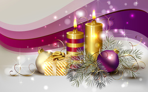 beauty, candle, delicate, balls, cool, box, colors, decoration, Ball, candles, beautiful, christmas