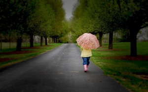umbrella, nature, lonely, childhood, road, children, trees, Little girl , child, , sadness