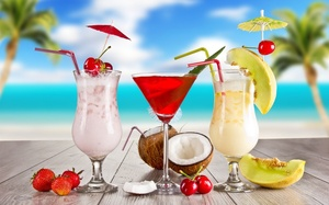 strawberry, melon, fruits, cocktails, cherry, Summer, cocktail, glasses, food, coconut