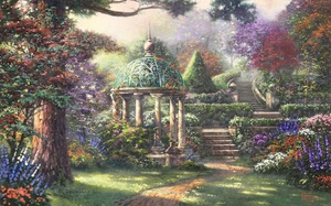 trees, gazebo, flowers, thomas kinkade, landscape, forest, painting, Gazebo of prayer