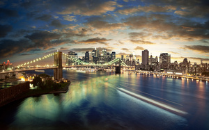 здания, night, City, landscape, lights, sea, cloud, мосты, buildings, город, bridge