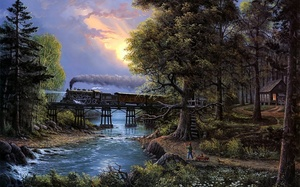 river, Cherished companions, jesse barnes, bridge, boy, train, cat, painting, sunset, trees
