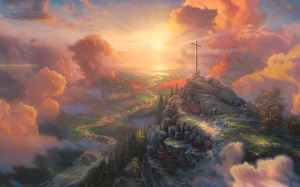 cross, painting, sun light, light, The cross, thomas kinkade