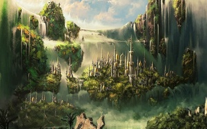 замок, башни, Cg wallpapers, водопады, шпили, elven castle, облака