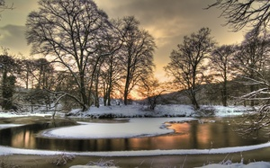sky, season, winter, colors, snow, sunset, ice, Nature, hdr, view, scenery, landscape, clouds, tree